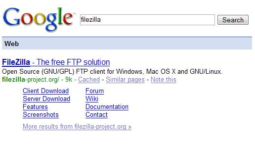 Searching for Filezilla on Google